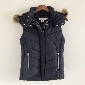 H&M Dark Navy Blue Hooded Puffer Vest Size 4